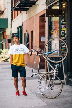Yuki rides a Serotta 20-speed bicycle photographed at Stanton St. and Clinton St., Manhattan while working at the Chari & Co bike shop