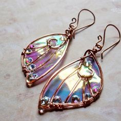 Sidhe Wings Earrings - Daoine Sith - Iridescent Fairy Wing Faery Wing Jewelry