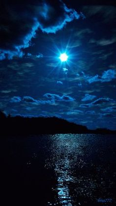 Scenic view of water, land and sky ~ all in shades of blue. Beautiful Moon, Beautiful Places, Beautiful Pictures, Beautiful Scenery, Amazing Places, Blue Moon, Sky Moon, Stars And Moon, Night Skies