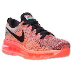 Women's Nike Flyknit Air Max Running Shoes | Finish Line | Hyper Punch/Black/Bright Mango