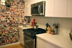 love love love the picture wall...  eclectic kitchen by nat the fat rat