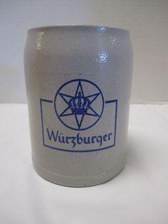 Wurzburger Beer Mug Stonware Beer Stein 1/2 Liter German Beer Glass