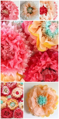 DIY flowers DIY pompoms tissue flowers tissue pompoms Paper Crafts - The Ultimate Craft Ideas Paper Tissue Flowers, Paper Flowers Craft, Tissue Paper Crafts, How To Make Paper Flowers, Crepe Paper Flowers, Flower Crafts, Diy Flowers, Fabric Flowers, Making Tissue Paper Flowers