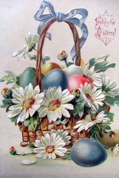 старинная пасхальная открытка крашеные яйца и ромашки в корзинке