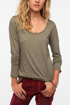 Truly Madly Deeply Long-Sleeved Deep Scoopneck Tee  #UrbanOutfitters