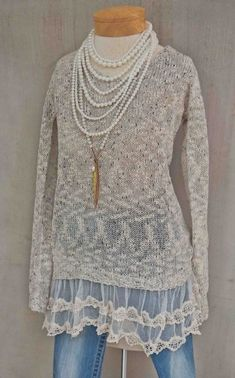 Women's Grey Shimmer & Lace Sweater Now in Stock (Ryu Clothing for Women). Women's Grey Shimmer & Lace Sweater This item is a final sale. Ryu Clothing, Boutique Clothing, Boutique Tops, Cute Wedding Guest Dresses, Pink Trousers, Mommy And Me Outfits, Lace Sweater, Shabby Chic Style, Ladies Boutique