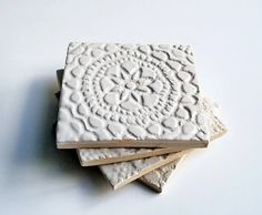 White Lace Coasters, Ceramic, Pottery, Set of 4, Handmade - Wedding, Shower, Host, Housewarming, Birthday Gift
