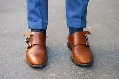 Double Monk Strap/ blue on blue Double Monk Strap Shoes, Men's Shoes, Dress Shoes, Gentleman Style, Designer Shoes, Oxford Shoes, Menswear, Mens Fashion, My Style