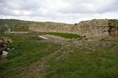 This section of the wall of the third stone fort was excavated during 2005 and is being consolidated for permanent display; the remains of two earlier fort walls were also excavated. the photo was taken from near the south west. Hadrian's Wall, Roman Britain, Third, Corner, England, Walls, Display, Stone, Floor Space