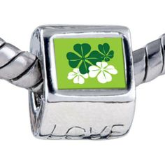 Pugster Bead Green Leaf Clovers Beads Fits Pandora Bracelet Pugster. $12.49. Fit Pandora, Biagi, and Chamilia Charm Bead Bracelets. Bracelet sold separately. Unthreaded European story bracelet design. Hole size is approximately 4.8 to 5mm. It's the photo on the love charm