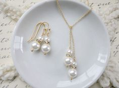 10 OFF  Pearl lariat necklace and earrings set Wedding by KeyYoung, $35.10