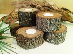 SET OF (12) Wood candleholders - Tree slices - Rustic Wedding -  - Christmas - Home decor - Cabin decor on Etsy, $36.00