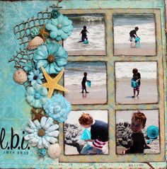 Loving this beach-themed scrapbook page! Use Printicular to print your beach photos and collect some seashells while you're at it! Beach Scrapbook Layouts, Vacation Scrapbook, Wedding Scrapbook, Scrapbook Designs, Scrapbook Sketches, Baby Scrapbook, Scrapbook Supplies, Scrapbooking Layouts, Scrapbook Cards
