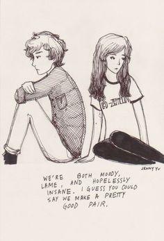 Boy Cute Girl Cartoon Drawing Couple Quote Simon Meh Cute