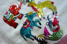 Ornaments | Vintage Christmas Ornaments Mexican Tin Animals by LunaParkVintage