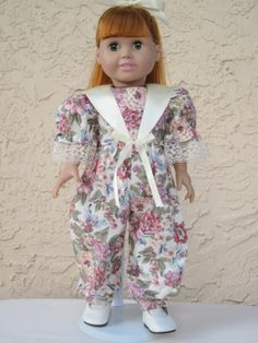 Fancy floral cotton jumpsuit for an 18 doll by TinaDollDesigns, $15.00. SOLD OUT