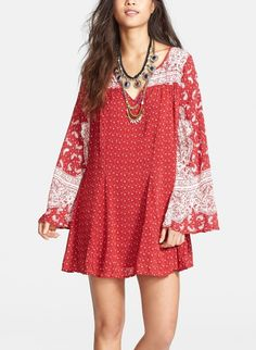 The perfect red dress for a 4th of July BBQ. Love the bohemian vibe of this Free People print dress.