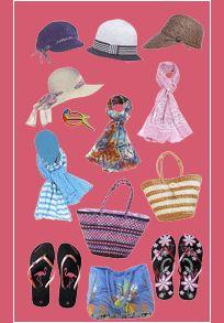 Des Accessoires de Mode pour les Femmes La Mode d'été avec des tongs, sacs, casquettes et chapeaux en paille, et les indispensables lunettes de soleil.