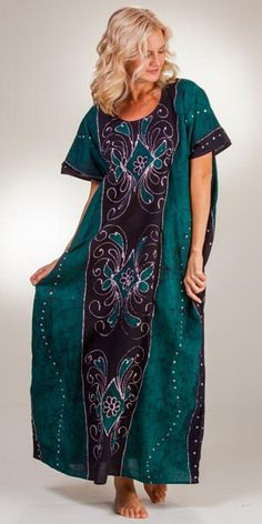 1c5173b71e One Size Loungers - Long Cotton Caftan in Green Diamonds Cotton Kaftan,  Green Diamond,