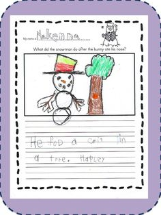 What did the snowman do after the bunny ate his carrot nose? Teaching First Grade, First Grade Classroom, Winter Activities, Math Activities, Classroom Freebies, Classroom Ideas, Grade 1, Literacy, Snowman