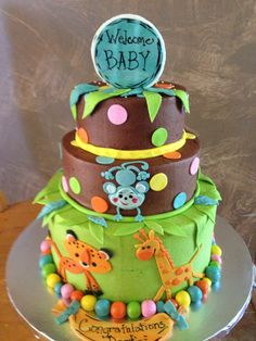 Jungle baby shower cake Torta Baby Shower, Baby Shower Fun, Baby Shower Parties, Baby Shower Gifts, Shower Party, Baby Cakes, Cupcake Cakes, Cupcakes, Tiffany Baby Showers