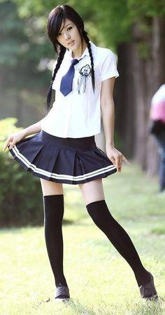 Charming Short Sleeves Cotton White and Dark Blue School Lolita Dress with Tie School Uniform Fashion, School Girl Outfit, School Uniform Girls, Girls Uniforms, High School Girls, School Uniforms, Japanese Fashion, Asian Fashion, Girl Fashion