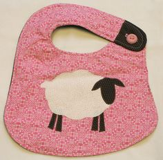 Sheep Appliqued Bib Pink & Brown by mirandamushunteri on Etsy