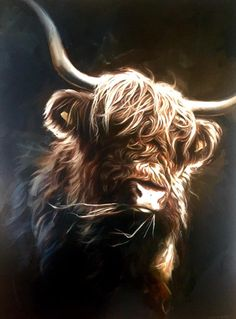 'Highland Cow' original painting by Ben Jeffery Highland Cow Painting, Highland Cow Art, Scottish Highland Cow, Highland Cattle, Baby Cows, Baby Elephants, Farm Art, Cute Cows, Surreal Art