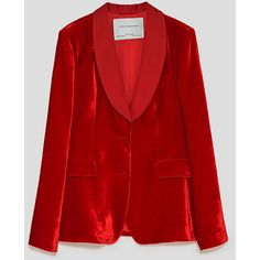 CONTRASTING VELVET BLAZER - NEW IN-WOMAN | ZARA United States ($50) ❤ liked on Polyvore featuring outerwear, jackets, blazers, red blazer jacket, blazer jacket, red blazer and red jacket
