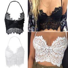 Women Crochet Lace Knit Bra Boho Beach Bikini Halter Cami Tank Crop Top Blouse #UnbrandedGeneric #TankCami