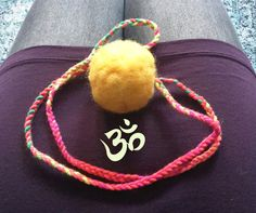 Boho inspired long necklace, New Chakra Necklace Pom Pom Necklace handmade by ClaudiaNanniFineArt on Etsy