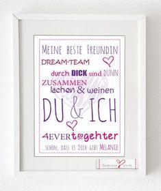 """Kunstdruck für Deine beste Freundin """"DU & ICH"""" von Soulmate-Works auf DaWanda.com"""