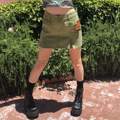 b445fb297 Omg! This brand new with tags vintage army green skirt is a - Depop Vintage