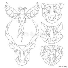 """Download the royalty-free vector """"Front view of animal head triangular icon , geometric trendy line design. Vector illustration ready for tattoo or coloring book.Antelope, fox, bear, parrot."""" designed by yazzik at the lowest price on Fotolia.com. Browse our cheap image bank online to find the perfect stock vector for your marketing projects!"""
