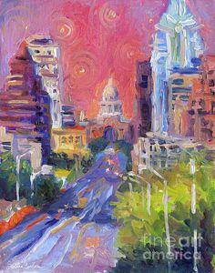 Impressionistic Austin cityscape Congress Avenue art painting by Svetlana Novikova, www.SvetlanaNovikova.com