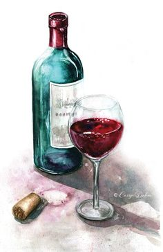 Bottle of red wine with glass. Wine cork laying next to the bottle. / Food Illustration