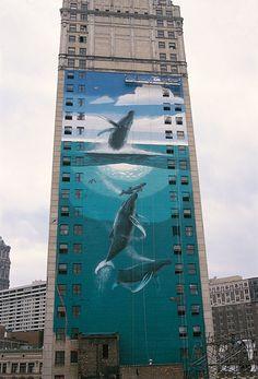 "WW 76 ""Whale Tower""  David Broderick Tower  10 Witherell, Detroit, Michigan  65 Feet Long x 180 Feet High  Dedicated October 13th, 1997  By Sander Levin, Michigan Congressman  & Michael Bushard, Michigan State Senator"