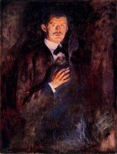 Self-Portrait with Burning Cigarette - Edvard Munch