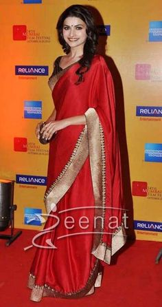 stunning Prachi Desai Red with golden border Designer Saree
