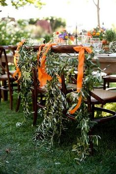 Possible to use eucalyptus chair decor then use as runners with some additional florals and remove bow. Wedding Songs, Wedding Book, Wedding Themes, Wedding Vendors, Wedding Decorations, Wedding Ideas, Orange Party, Orange Wedding, Real Weddings