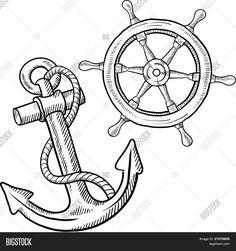 Ship anchor and wheel sketch