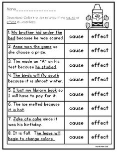 Cause and Effect Worksheets and Activities Cause And Effect Worksheets, Cause And Effect Activities, First Grade Worksheets, School Worksheets, Reading Skills, Teaching Reading, Learning, Schooldays, Reading Comprehension Worksheets