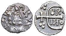Denarius Ebroin on behalf of REDEMARUS, struck in Paris, BNF, coins and antiques.