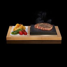The Sizzling Steak Plate set from SteakStones, Home of Hot Stone Cooking Chunky Chips, Steak And Chips, Steak Plates, Char Grill, Cooking Stone, Vegetable Medley, Fresh Seafood, How To Cook Steak, Grilled Vegetables