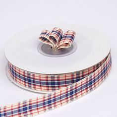 "25 Yards 5/8"" Navy Blue/White Buffalo Plaid Ribbons"