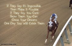 If they say it is impossible. Inspirational Horse Quotes, Inspirational Speeches, Motivational Quotes, Secretariat Quotes, Horse Riding Quotes, Equestrian Quotes, Racing Quotes, Horse Facts, Horse Posters