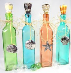 4pc Beach Decor Decorative Shell Bottles - Nautical Bottles w Nautical Seashell Accents.