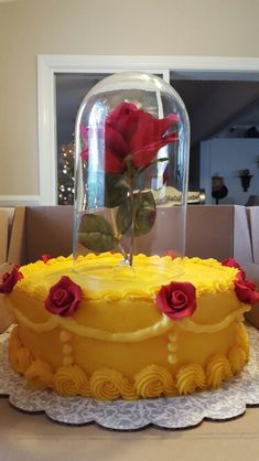 Engagement cake Beauty and the beast  inspired