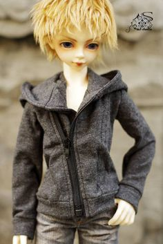 [M3 STUDIO] bjd doll clothes oblique open zipper hooded sweater purple / gray two-color spot 1/4 - Taobao