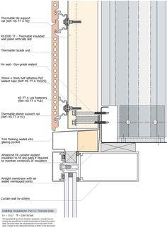 Risultati immagini per curtain wall balcony insulation Curtain Wall Detail, Glass Curtain Wall, Window Detail, Architectural Engineering, Architectural Section, Architectural Drawings, Detail Architecture, Interior Architecture, Drawing Architecture
